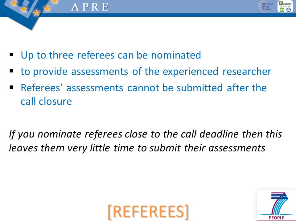 [REFEREES] Up to three referees can be nominated